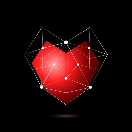 Heart shape symbol isolated on black background