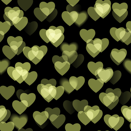 Golden heart shapes isolated on black background
