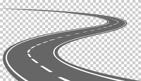 Curved road z białymi znaczeniami