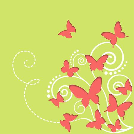 Cutout butterflies spring background