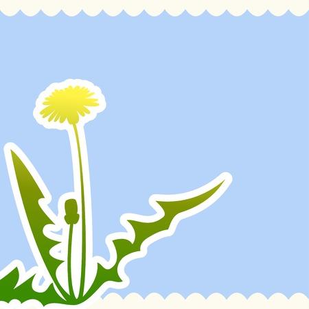 Dandelion flower on a beige background Ilustração