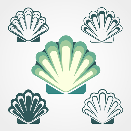 Shell symbols isolated on a white background