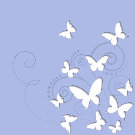 Vector butterflies on a blue sky background Ilustração