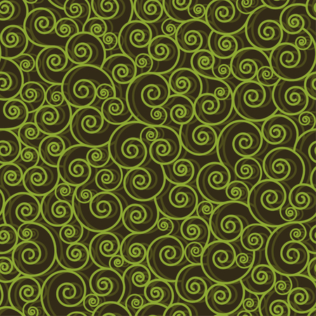 Abstract green swirls on black background