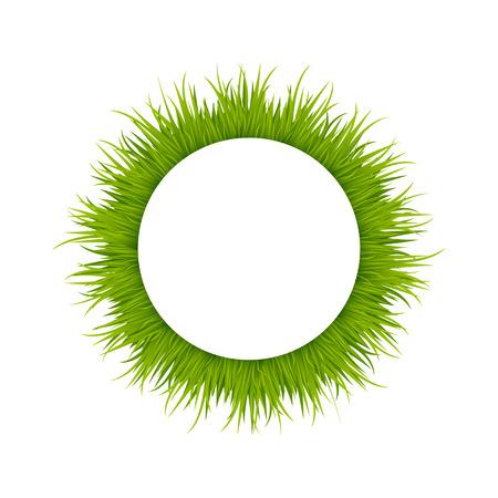 yard sale: Green grass round frame Illustration