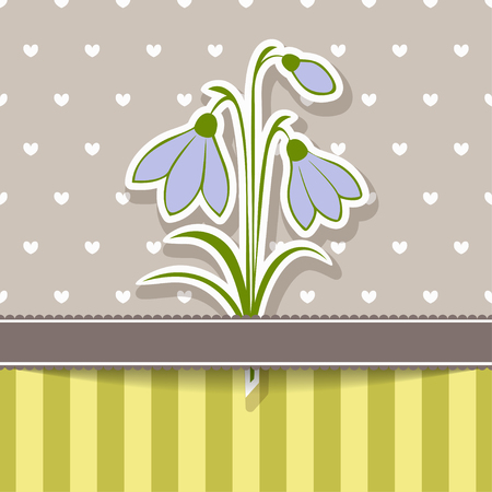 Vintage card with bunch of snowdrops