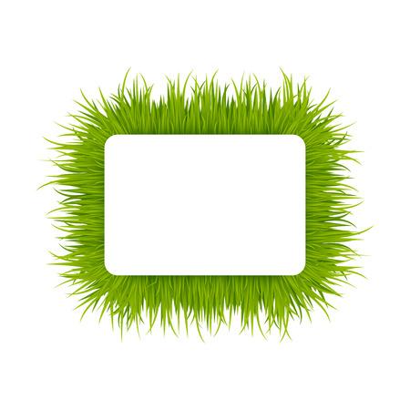 녹색 잔디 사각형 프레임 일러스트