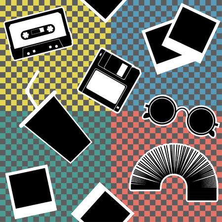 Vintage 90s style elements set seamless pattern. Vector illustration