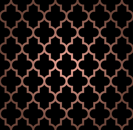 Oriental seamless pattern in copper color. Vector background