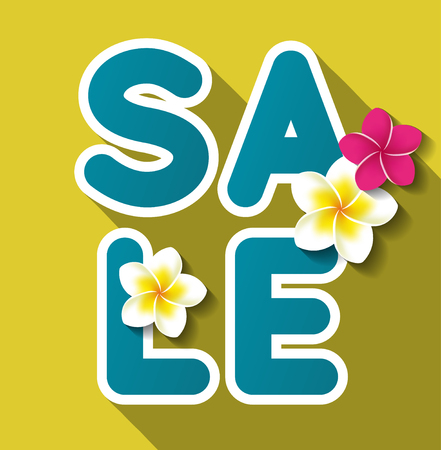 Summer sale text on yellow background with some flowers. Vector illustration Ilustração