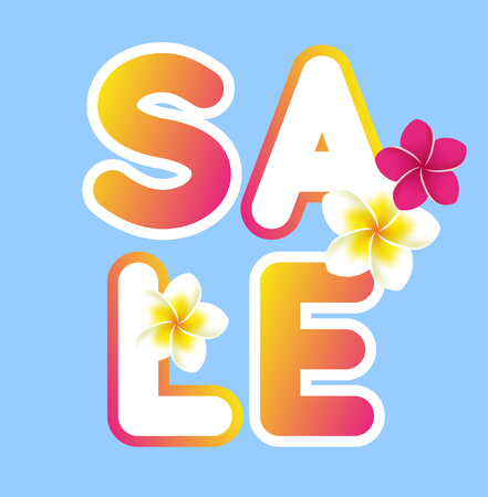 Summer sale text on blue sky background with some flowers. Vector illustration Ilustração