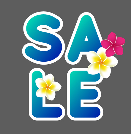 discount banner: Summer sale text on dark grey background with some flowers. Vector illustration
