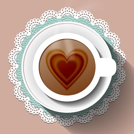 Cup of coffee on a paper napkin Ilustração