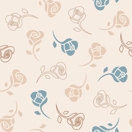 장미와 매끄럽고 섬세한 패턴