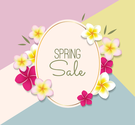 Spring Sale illustration with flowers