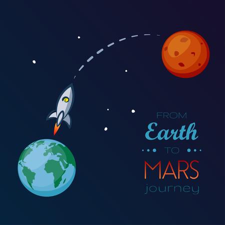 지구에서 화성까지 우주에서 우주선 비행