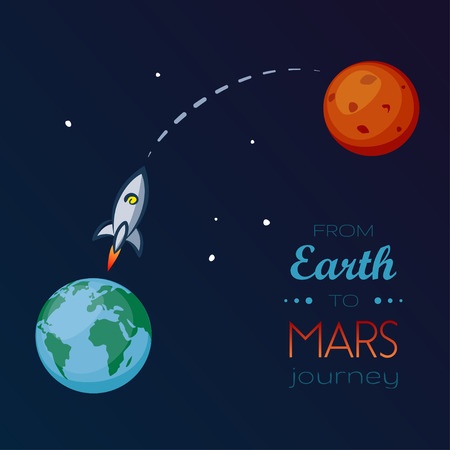 Spaceship flying in space from Earth to Mars Illustration