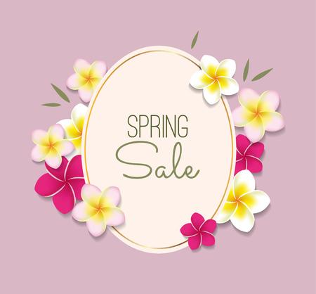 프레임 및 꽃 봄 판매 그림 일러스트