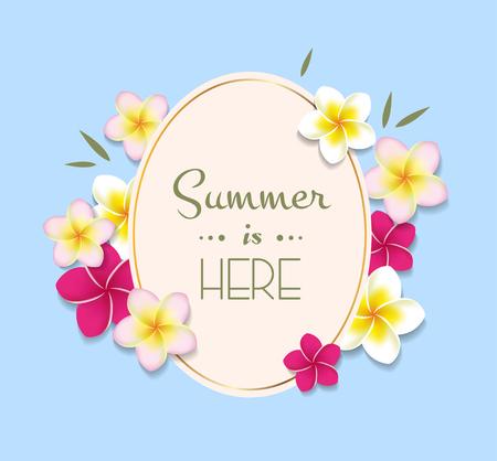 프레임 및 꽃 여름 그림 일러스트