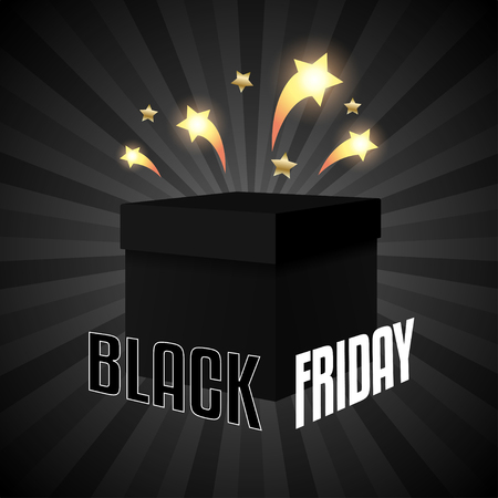 Black friday sale box on black background Ilustração
