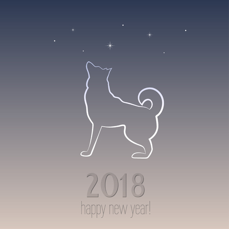 New year card with a dog - symbol of 2018