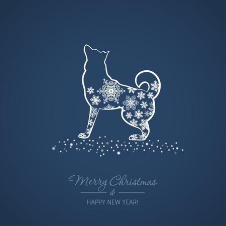 강아지와 함께 크리스마스와 신년 카드