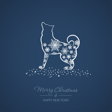 Christmas and New Year card with a dog