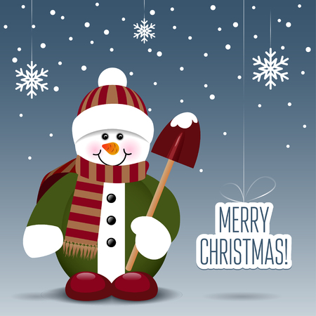 Snowman with a shovel isolated on snowy background