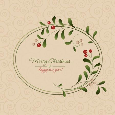 Christmas card with a frame Vector illustration.