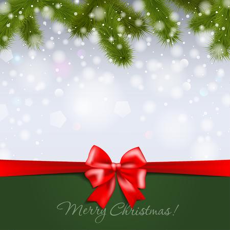 Christmas tree branch on snowy background Vector illustration. Ilustração
