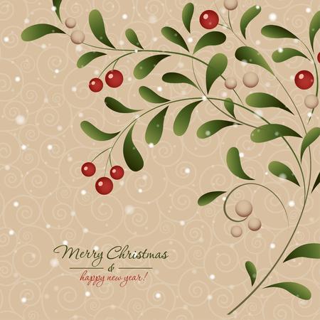Christmas card with mistletoe plant Vector illustration. Ilustração
