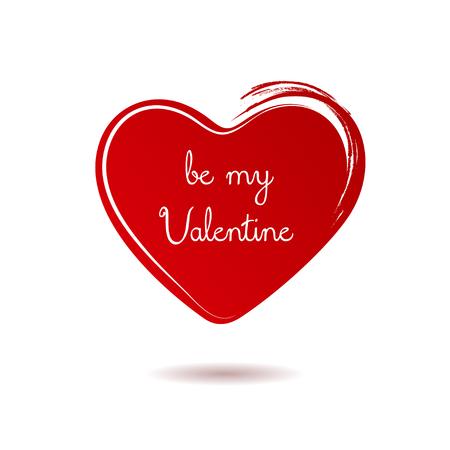 손으로 그린 된 붉은 마음입니다. 발렌타인 데이 벡터 일러스트 레이션