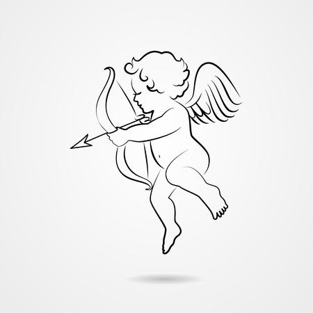 Hand drawn sketch of cupid Vectores