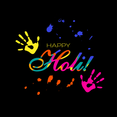 Happy Holi illustration with colorful handprints on black background. Vector illustration.