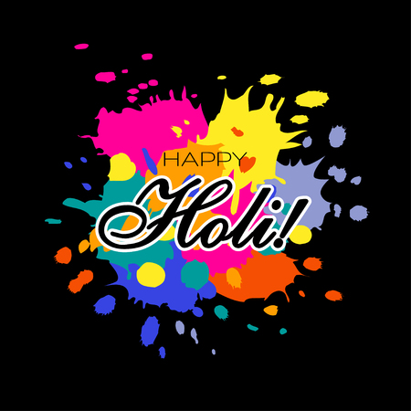 Happy Holi illustration will colorful paint splashes on black background. Vector illustration. 일러스트