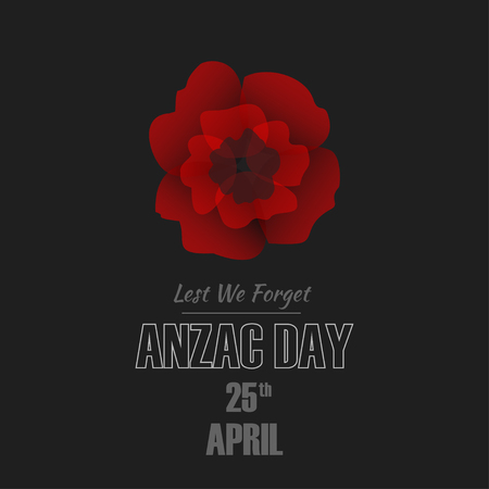 Anzac Day illustration with red flower.