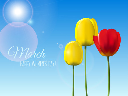 Greeting card with yellow and red tulips isolated on clear blue sky for 8 March International Womens Day
