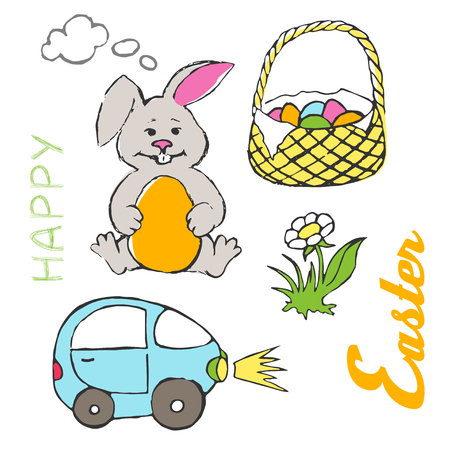 Easter elements with Happy Easter text vector illustration 일러스트