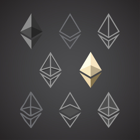 Ethereum signs isolated on dark background