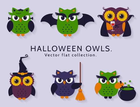 retama: ¡Feliz Halloween! búhos están vestidos con trajes de bruja, vampiro, palo y otros personajes espeluznantes tradicionales de Halloween. Conjunto de iconos de colores aislados sobre fondo claro. Colección Flat.