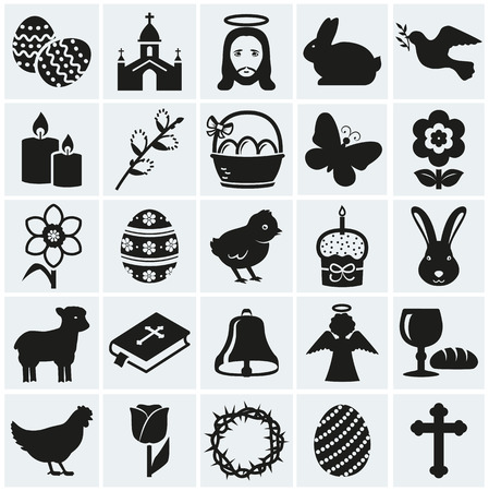 cristianismo: ¡Felices Pascuas! Conjunto de 25 días de fiesta, símbolos religiosos y concepto. Colección de elementos negro silueta para su diseño.