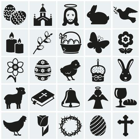pasen schaap: Gelukkig Pasen! Set van 25 feestdagen, religieuze symbolen en het concept. Collectie van silhouet zwarte elementen voor uw ontwerp. Stock Illustratie