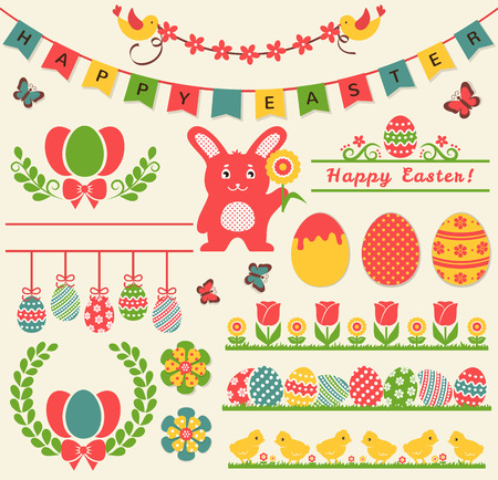 butterflies for decorations: Happy Easter! Set of retro decorations isolated on light background. Collection of cute elements for scrap booking, festive invitations, page and website decor or any other design.