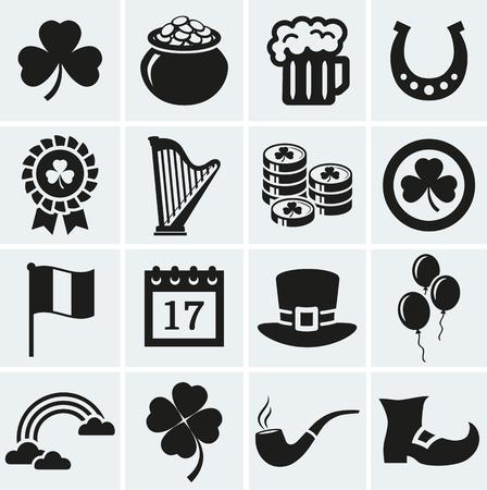arpa: ¡Feliz dia de San Patricio! colección de iconos de vacaciones. Conjunto de 16 siluetas símbolos negros.