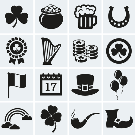 pot: Happy St. Patricks Day! collection of holiday icons. Set of 16 silhouette black symbols.