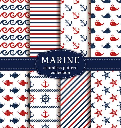 Set van maritieme en nautische achtergronden. Zee thema. Naadloze patronen collectie.