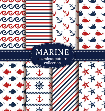 Set of marine and nautical backgrounds. Sea theme. Seamless patterns collection.