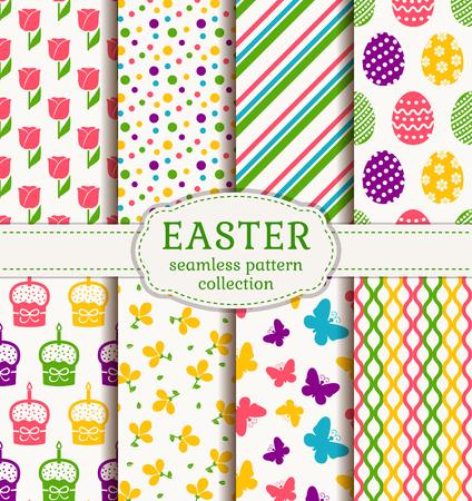 幸せなイースター!かわいい休日の背景のセットです。伝統的なシンボルとカラフルなシームレス パターンのコレクションです。