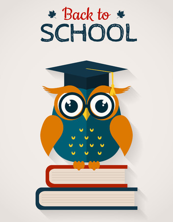 Back to school. Wise owl with books and graduate cap. Flat design.
