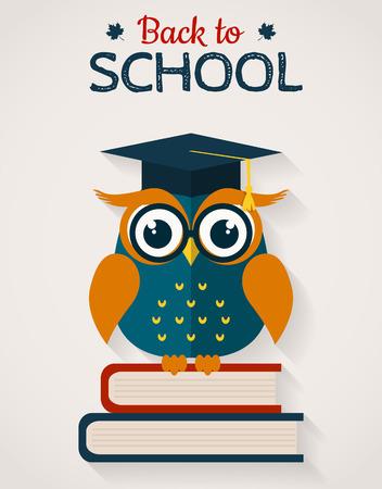 buho graduacion: De vuelta a la escuela. b�ho sabio con los libros y el casquillo graduado. Dise�o plano.